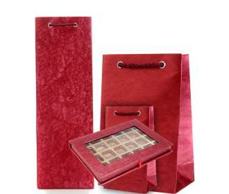 Crimson Colour Wine Bag, Chocolate Box and Gift Bag Combo