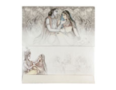 Decorated Radha Krishna Wedding Card in Cornsilk & Golden Colour