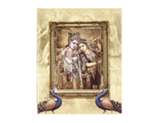 Decorated Radha Krishna Wedding Card with Peacock design