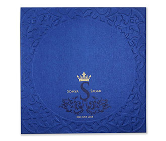 Designer circular hindu wedding invitation in royal blue