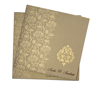 Designer floral Indian multifaith card in brown & golden
