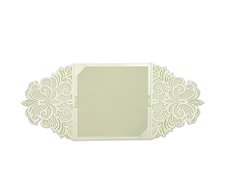 Designer floral laser cut invite in Ivory colour
