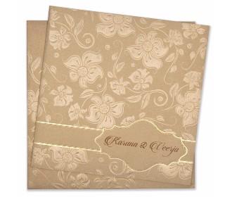 Designer floral wedding card in golden colour
