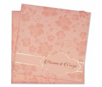 Designer floral wedding card in rose gold colour