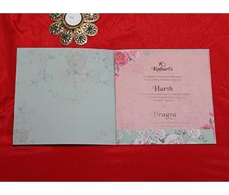 Designer floral wedding invitation card in teal colour