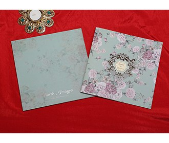 Designer floral wedding invitation card in teal colour -