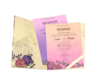 Designer floral wedding invitation in beautiful pastel colouors