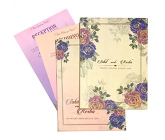 Designer floral wedding invitation in beautiful pastel colouors -