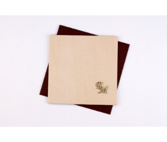 Designer handmade paper invite in shades of fawn and brown