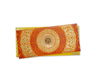 Designer Hindu Wedding Card in Orange with Floral Designs