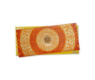 Designer Hindu Wedding Card in Orange with Floral Designs