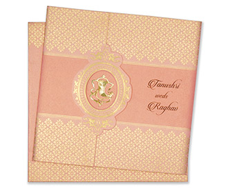 Designer hindu wedding card in pink and golden colour -