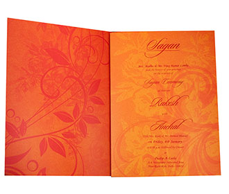 Designer Hindu Wedding Invitation in Orange with Ganesha Image