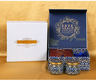 Designer Indian box invitation in Ivory and blue with sweet jars -