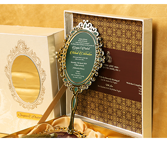 Designer Indian box invite in cream with rose and mirror shaped inserts