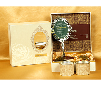Designer Indian box invite in cream with rose and mirror shaped inserts -