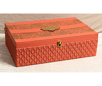 Designer Indian wedding box invite & sweet jars in pastel orange colors -