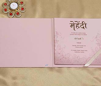 Designer Indian Wedding Card in Peach with Leafs and Motifs