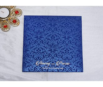 Designer Indian wedding invitation in Navy blue and Golden
