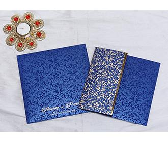 Designer Indian wedding invitation in Navy blue and Golden -