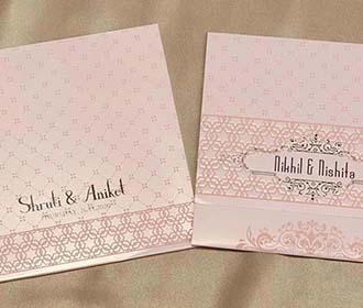 Designer Indian Wedding Invitation in Peach colour -