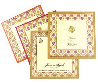 Designer Indian wedding invitation with orange and pink motifs -