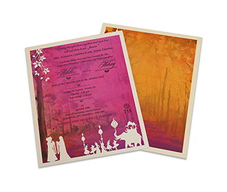 Designer Indian wedding invite with laser cut wedding procession