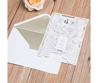 Designer Ivory Laser Cut Wedding Invitation with name tag & RSVP set