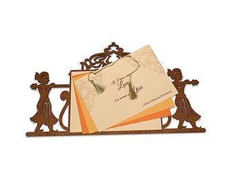 Designer laser cut cardboard invite with a doli/palanquin design