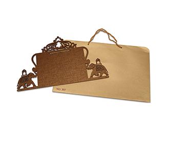 Designer laser cut cardboard invite with royal elephants