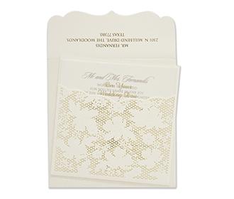 Designer laser cut wedding card with a flower mesh pattern