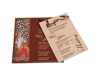 Designer laser cut wedding invite with Bride & Groom image