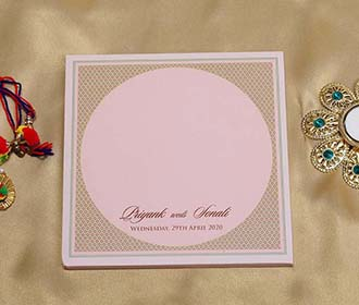 Designer Mandala Style Indian Wedding Card in Light Pink
