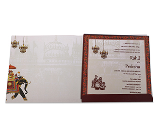 Designer multicolour wedding invite with royal elephants