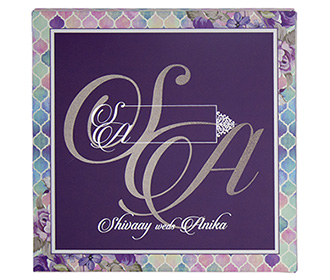 Designer multifaith floral wedding invite in shades of purple
