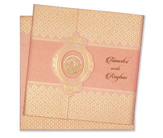 Designer muslim wedding card in pink and golden colour -