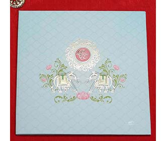 Designer Pastel Blue Indian Wedding Card with Royal Elephants