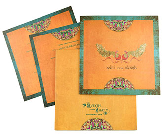 Designer peacock themed artistic Indian wedding invitation -