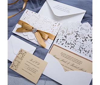 Designer Pearl White Laser Cut Wedding Invittaion & RSVP set -