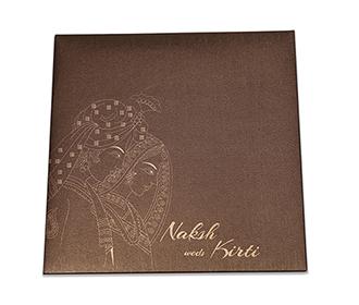 Designer Phera theme Indian wedding card in brown