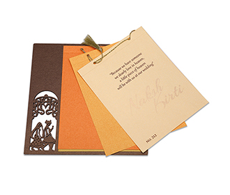 Designer Phera theme Indian wedding card in brown
