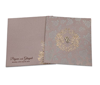 Designer rose theme wedding invitation in golden brown colour