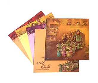Designer royal Indian invitation with wedding procession images -