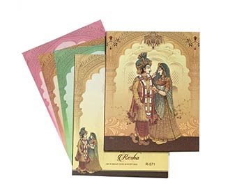 Designer royal Indian invite with bride & groom wedding ceremony images -