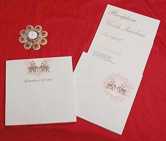Designer Royal Indian Wedding Card in Ivory Colour
