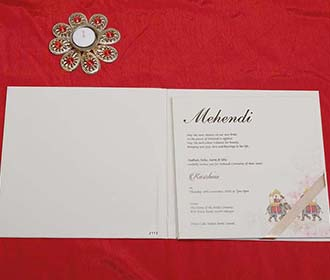 Designer Royal Indian Wedding Card in Ivory Colour