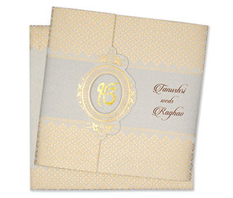 Designer sikh wedding card in powder blue and golden colour -