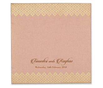 Designer sikh wedding card in pink and golden colour