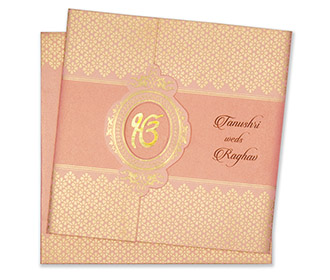 Designer sikh wedding card in pink and golden colour -