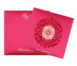 Designer Wedding Card in Fuchsia & Antique Golden Colour